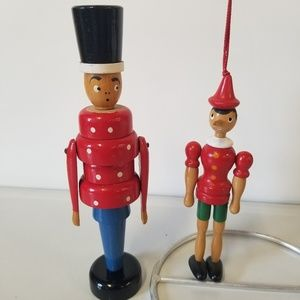 Vintage Accents - Vintage Painted Wooden Toy Soldier and Pinocchio